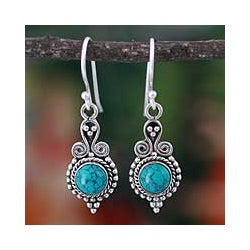 Sterling Silver 'Love Forever' Dyed Magnesite Earrings (India)