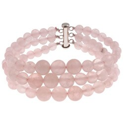 Pearlz Ocean Sterling Silver Rose Quartz Journey Bracelet