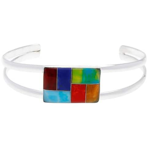 Handmade Alpaca Silver Gemstone Mossaic Bracelet Cuff (Mexico) - Blue