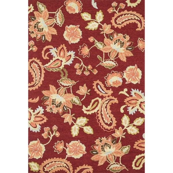Hand-hooked Peony Red Rug (5' x 7'6)