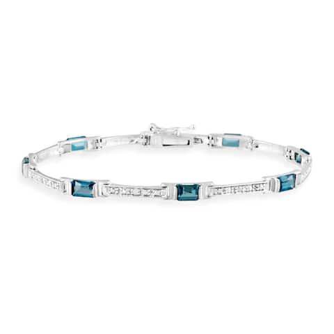 Glitzy Rocks Silver Blue Topaz and Diamond Accent Bracelet