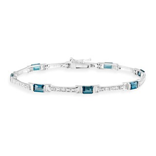 Glitzy Rocks Silver Blue Topaz and Diamond Accent Bracelet
