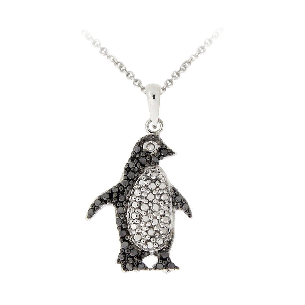 DB Designs Sterling Silver Black Diamond Accent Penguin Necklace