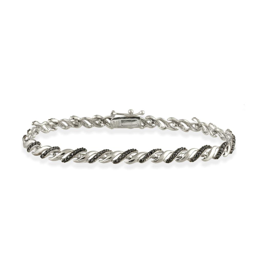DB Designs Sterling Silver Black Round Link Bracelet (Diamond Accent)