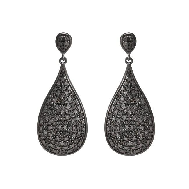 Sterling Silver 1/2ct TDW Black Diamond Teardrop Earrings