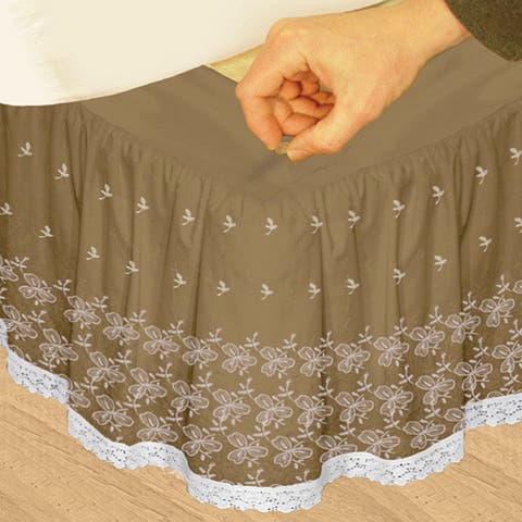Veratex 'Hike Up Your Skirt' Embroidered Adjustable 17-inch Drop King-size Bedskirt
