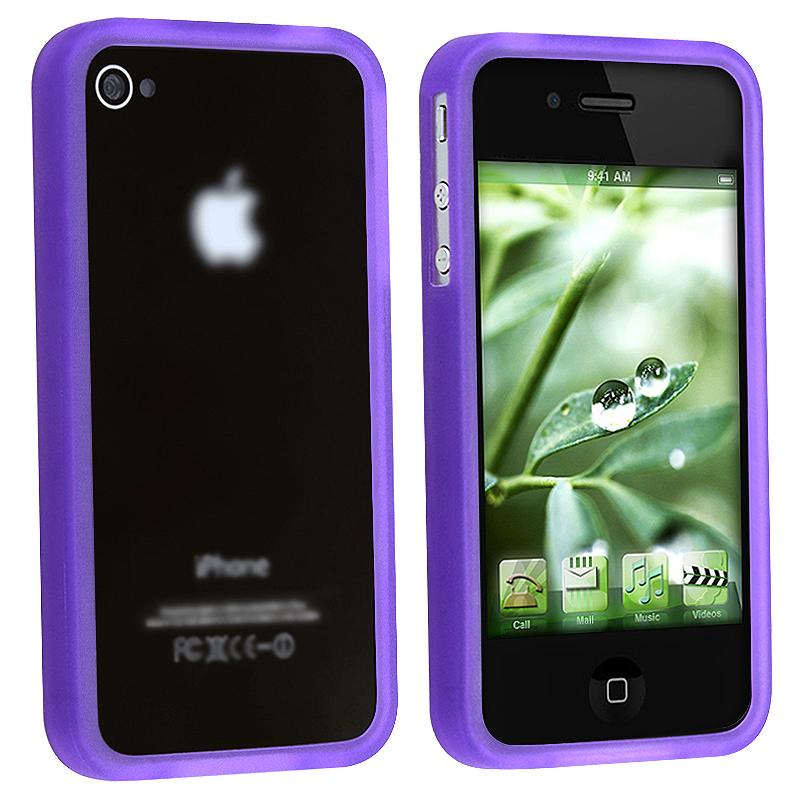 Purple Bumper TPU Rubber Skin Case for Apple iPhone 4 AT&T/ Verizon