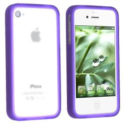 Purple Bumper TPU Rubber Skin Case for Apple iPhone 4 AT&T/ Verizon - Thumbnail 2