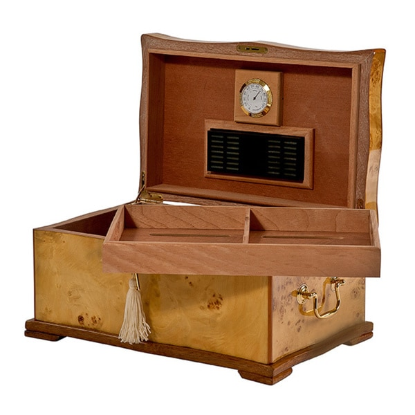 Natural Wood-veneer Cedar-lined MDF Cigar Humidor by Christopher Knight Home