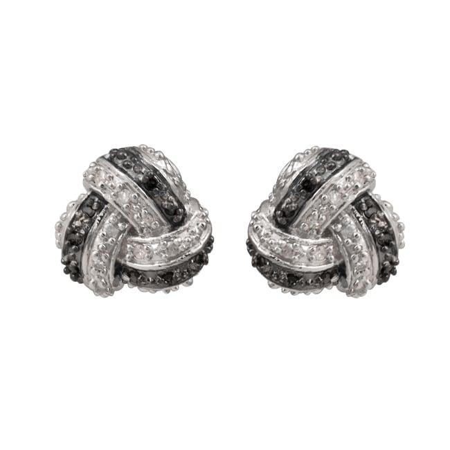 Sterling Silver 1/4ct TDW Black and White Diamond Knot Earrings (J-K, I2-I3)