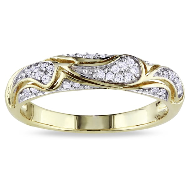 Miadora 10k Yellow Gold 1/10ct TDW Round-cut Diamond Ring