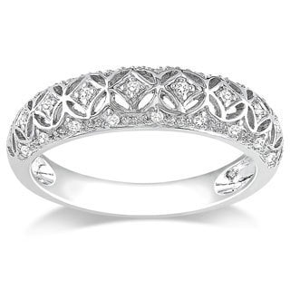 Miadora 10k White Gold 1/10ct TDW Round-cut Diamond Ring