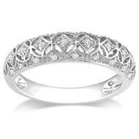 Miadora 10k White Gold 1/10ct TDW Round-cut Diamond Ring