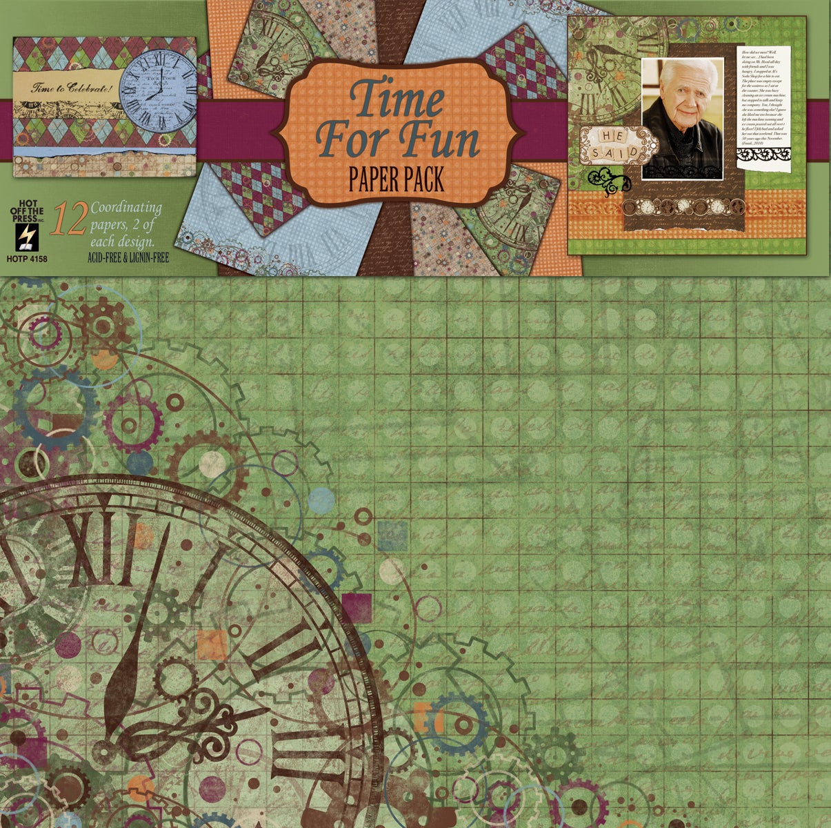 Time For Fun 12x12 12 Sheets/ 6 Designs Paper Pack