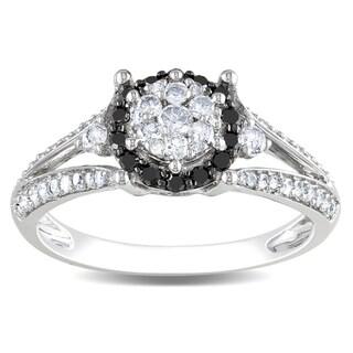 Miadora 14k White Gold 1/2ct TDW Black-and-white Tension-set Diamond Ring