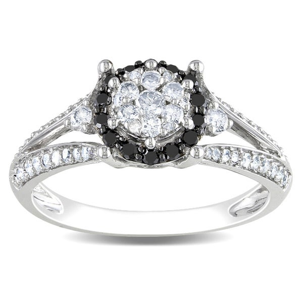 Miadora 14k White Gold 1/2ct TDW Black-and-white Tension-set Diamond Ring