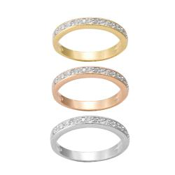 Tri-color Silver 1/4ct TDW Diamond 3-piece Stackable Band Set (J-K, I3) - Thumbnail 1