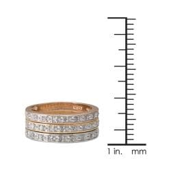 Tri-color Silver 1/4ct TDW Diamond 3-piece Stackable Band Set (J-K, I3) - Thumbnail 2