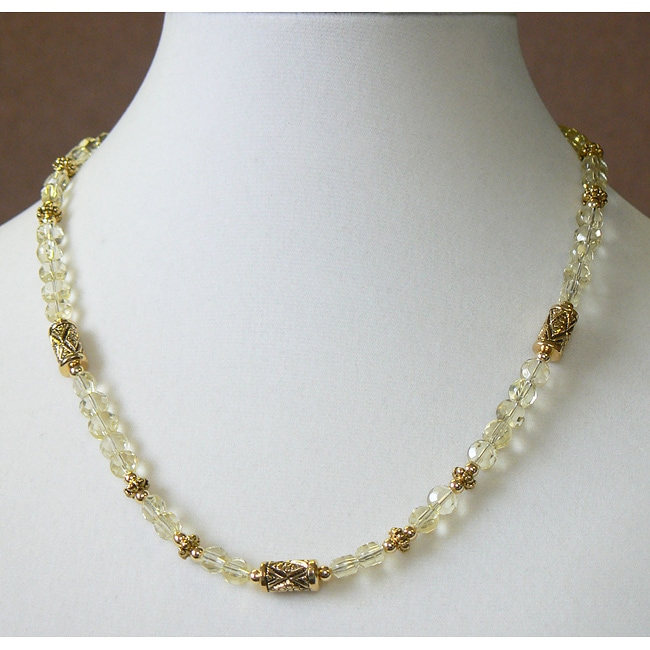 Gold Overlay 'Canary Treasure' Glass Bead Necklace
