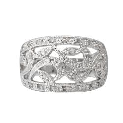 Sterling Silver 1/4ct TDW Diamond Vintage Openwork Ring (J-K, I3) - Thumbnail 1