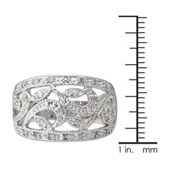 Sterling Silver 1/4ct TDW Diamond Vintage Openwork Ring (J-K, I3) - Thumbnail 2