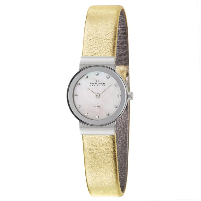 Skagen Women's 'Glitz' Stainless Steel and Gold Leather  Crystals Quartz Watch - Thumbnail 0