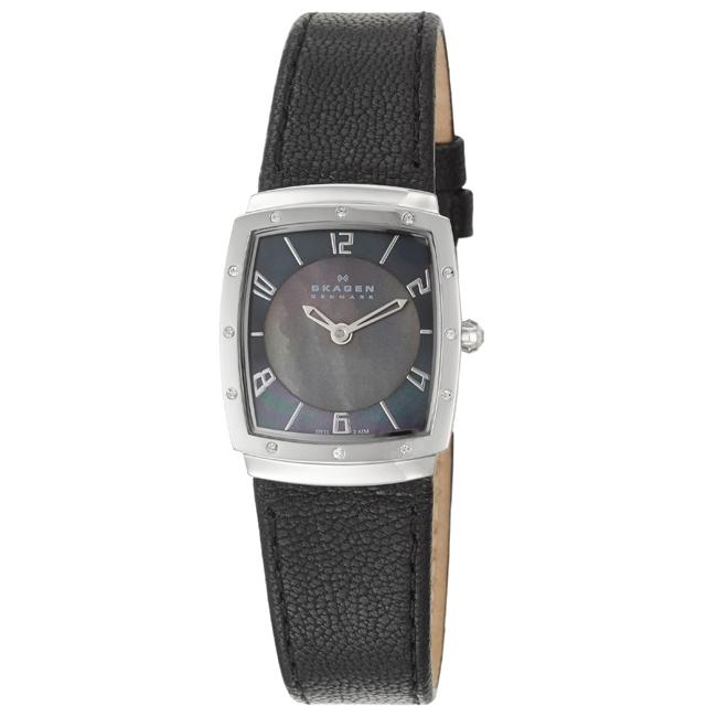 Skagen Women's 'Classic' Stainless Steel and Black Leather  Crystals Quartz Watch