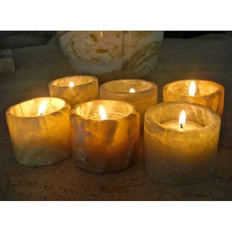 Handmade Alabaster Candle Holder, Set of 6 (Egypt)