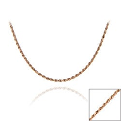Mondevio Rose Gold Over Silver 24-inch Twisted Rope Chain Necklace