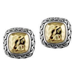 Mondevio Two-tone Sterling Silver Square Earrings