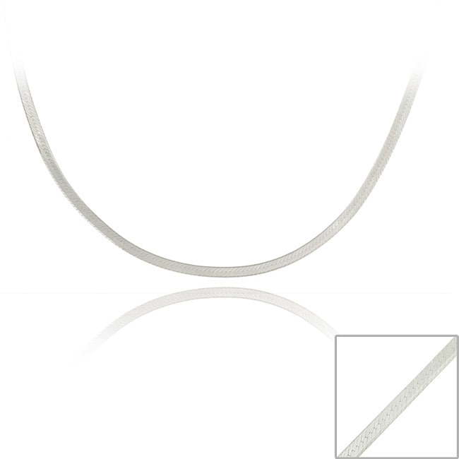 Mondevio Sterling Silver 24-inch Herringbone Chain Necklace