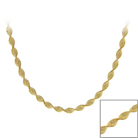 Mondevio 18k Gold over Silver 36-inch Twisted Magic Chain Necklace