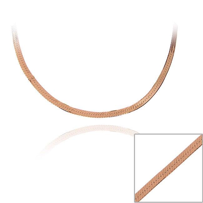 16 Inch Gold Herringbone Necklace: Shop Mondevio Rose Gold Over Silver 18-inch Herringbone