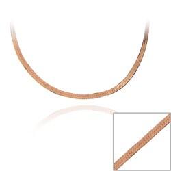 Mondevio Rose Gold over Silver 18-inch Herringbone Chain Necklace