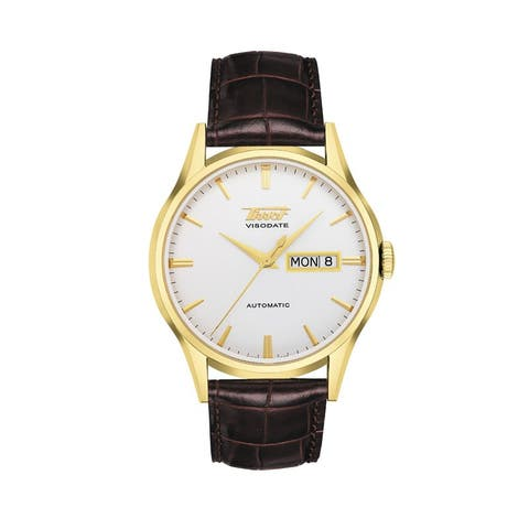 Tissot Men's 'Heritage Visodate' Brown Leather Automatic Watch
