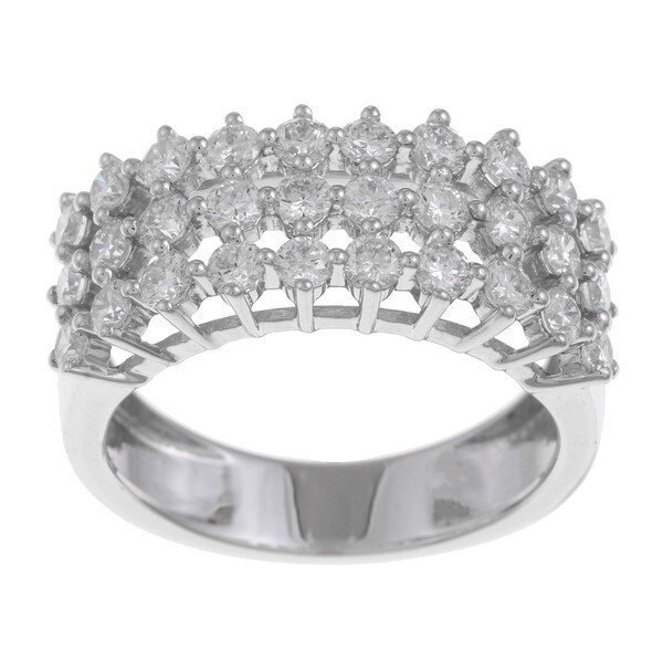 18k White Gold 1 2/5ct TDW Multi Row Diamond Ring (G-H, SI1-SI2)