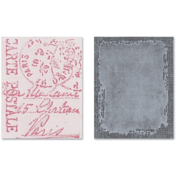 Sizzix 2-piece Distressed Frame & Postal Texture Fades Embossing Folders