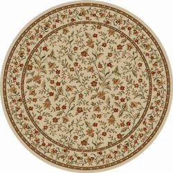 Admire Home Living Amalfi Flower Oriental Ivory Area Rug (8' Round)