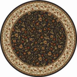 Admire Home Living Amalfi Flower Oriental Brown Area Rug (8' Round)