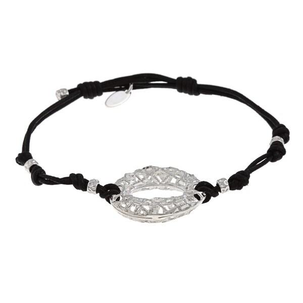 La Preciosa Sterling Silver Black Cord Bracelet