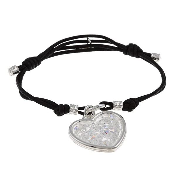 La Preciosa Sterling Silver Crystal Heart Black Cord Bracelet