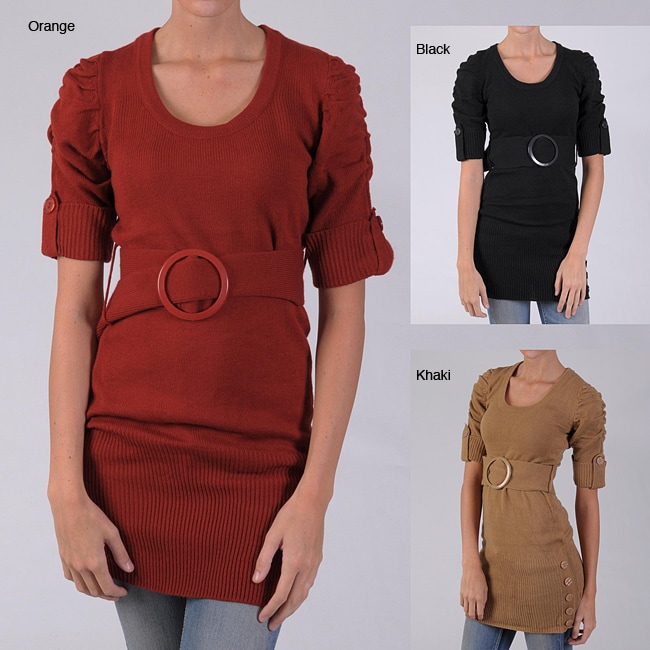 Ci Sono by Adi Junior's Scoop-Neck Belted Acrylic Tunic