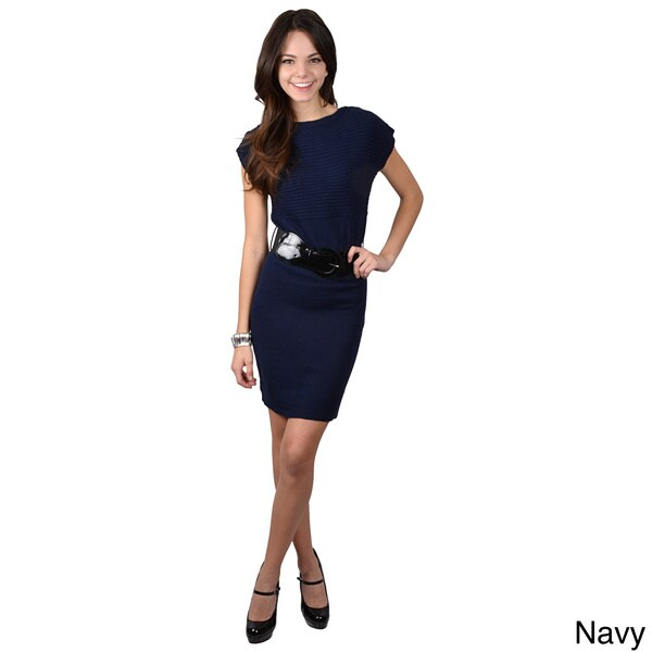 Ci Sono by Adi Juniors Knit Belted Short-sleeve Dress