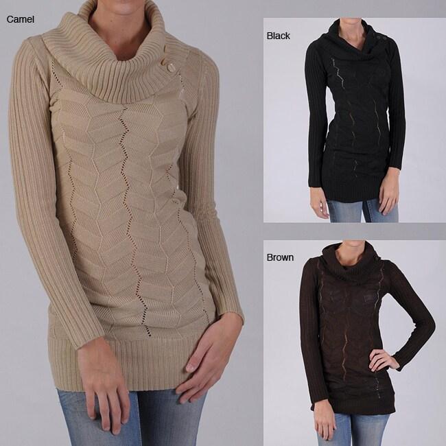 Ci Sono by Adi Juniors Herringbone Cowlneck Sweater