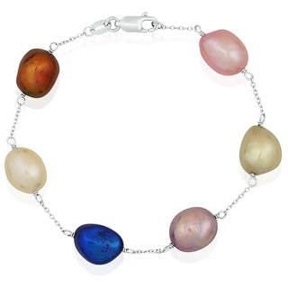 Pearlyta Sterling Silver Multi-colored Freshwater Baroque Pearl Tin Cup Bracelet (9-10 mm)|https://ak1.ostkcdn.com/images/products/6179657/P13832519.jpg?impolicy=medium