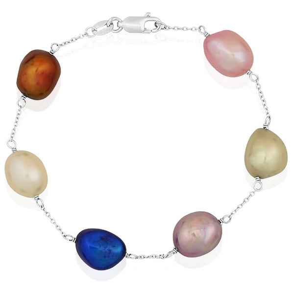 Pearlyta Sterling Silver Multi-colored Freshwater Baroque Pearl Tin Cup Bracelet (9-10 mm)