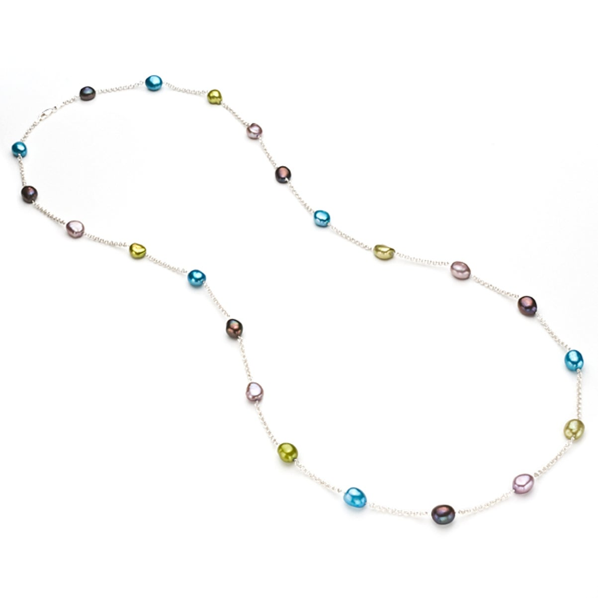 Pearlyta Sterling Silver Multicolor Freshwater Baroque Pe...