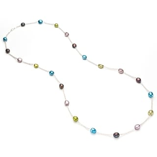 Pearlyta Sterling Silver Multicolor Freshwater Baroque Pearl Tin Cup Necklace (9-10 mm)