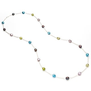 Pearlyta Sterling Silver Multicolor Freshwater Baroque Pearl Tin Cup Necklace (9-10 mm) - Multi/Purple/White