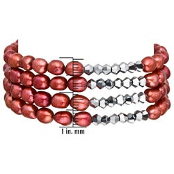 Pearlyta Red Freshwater Baroque Pearl 4-row Stretch Stackable Bracelet (5 - 6 mm) - Thumbnail 2
